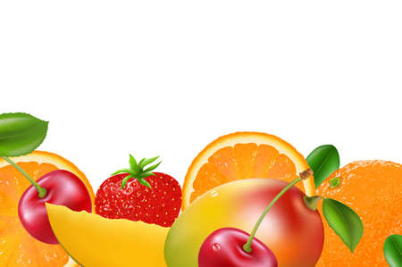 Fruit Border, Isolated On White Background Vector