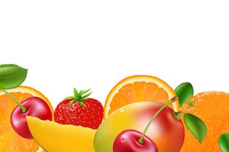 berry fruit: Fruit Border, Isolated On White Background