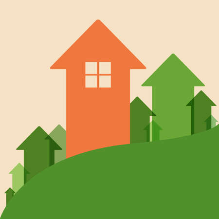 increase: Home Value, House Values and Prices Up Illustration