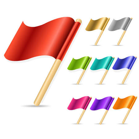 pinning: 9 Color Flags, Isolated On White Background,