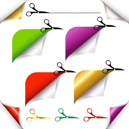 cutoff: Corners And Scissors Set, Isolated On White Background, Illustration