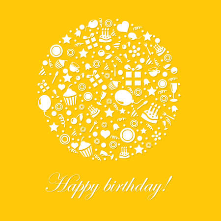 velitas de cumpleaños: Tarjeta lindo feliz cumpleaños en fondo amarillo
