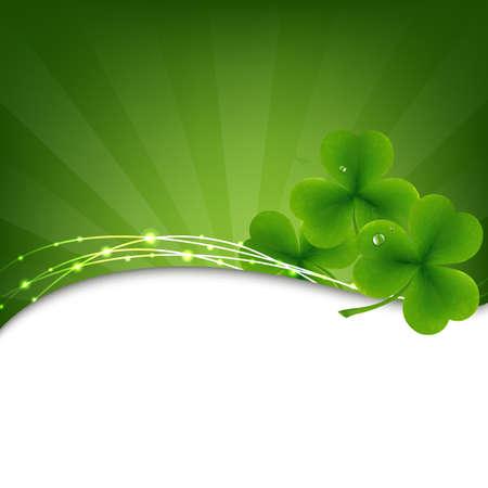 irland�s: Fondo Verde con el tr�bol y Sunburst Ilustraci�n,