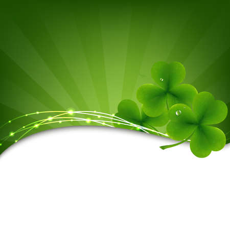 irish banners: Green Background With Clover And Sunburst, Illustration Illustration