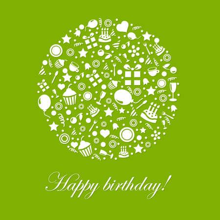 velitas de cumpleaños: Green Card Feliz Cumpleaños, aisladas sobre fondo blanco Ilustración, Vectores