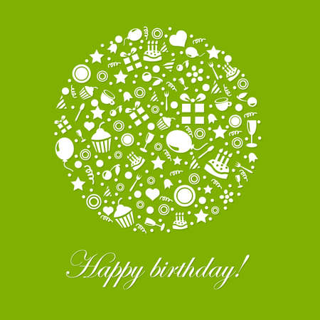 Green Happy Birthday Card, Isolated On White Background, Illustration Illustration