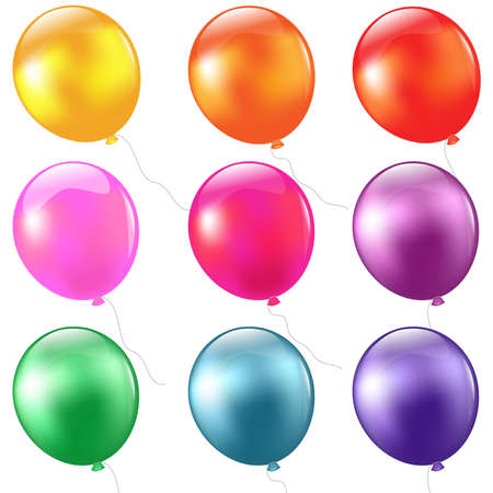 red balloons: Big Set Balloons, Isolated On White Background