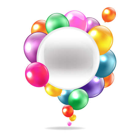 shapes cartoon: Color Balloons With Speech Bubble, Isolated On White Background Illustration