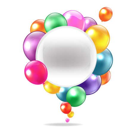 Kleur Ballonnen Met Tekstballon, Geà ¯ soleerd Op Witte Achtergrond