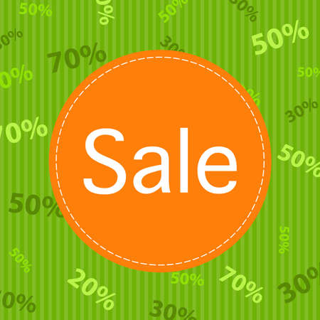 Green Sale Poster With Percent Vector