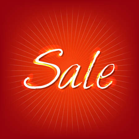 Red Sale Poster, Isolated On Red Background Vector