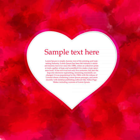 Watercolor Red Background With Heart Vector