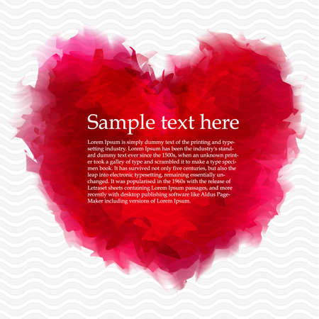 Watercolor Background With Red Heart Stock Vector - 14398214