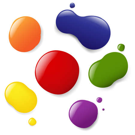 dripping paint: 6 Color Blobs, Isolated On White Background, Vector Illustration