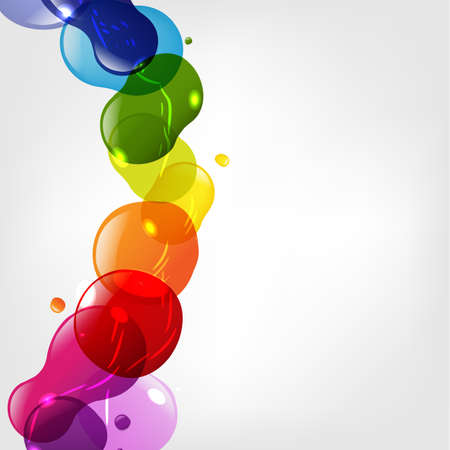 paint drip: Color Neon Blobs With Bokeh, Isolated On Grey Background, Vector Illustration
