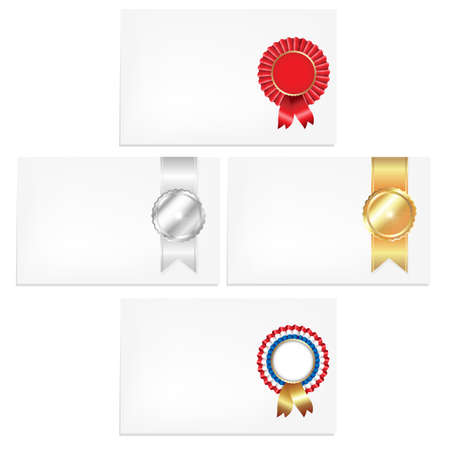 4 Cards With Badges, Isolated On White Background, Vector Illustration Vector