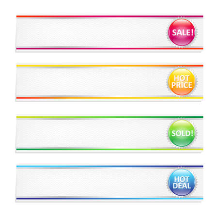 4 Colorful Banners, Isolated On White Background, Vector Illustration Vector
