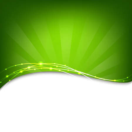 banner effect: Green Background With Sunburst, Vector Illustration