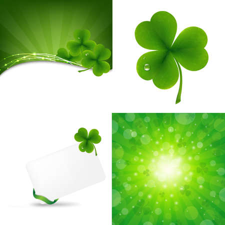 3 Green Background With Clover, Vector Illustration Illustration