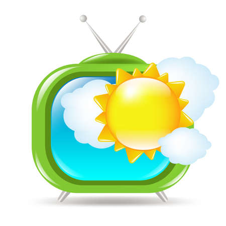 optical image: Retro Tv Set With Sun And Clouds, Isolated On White Background, Vector Illustration