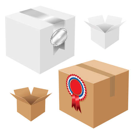 block note: 4 Boxes With Badges, Isolated On White Background, Vector Illustration
