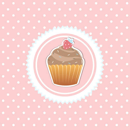 Vintage Card With Cupcake, Isolated On Pink Background, Vector Illustration Vector