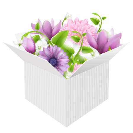 magnolia flower: White Box With Spring Flowers, Isolated On White Background, Vector Illustration