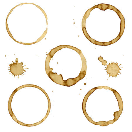 7 Coffee Stain, Isolated On White Background, Vector Illustration