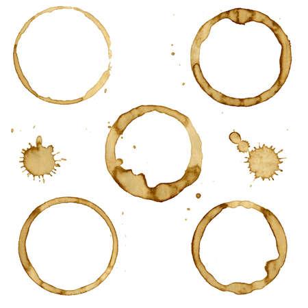 7 Coffee Stain, samodzielnie na białym tle, ilustracji wektorowych