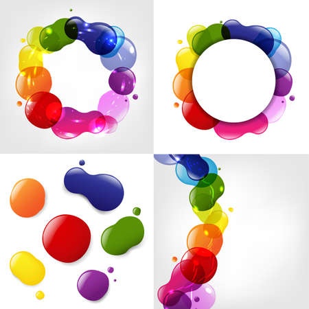 Dialog Balloon And Color Neon Blobs Set, Vector Illustration Illustration