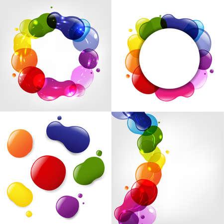 creare: Dialog Balloon E Neon colori Blobs Set, illustrazione vettoriale