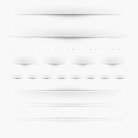 web page elements: Set Of Dividers, Isolated On Grey Background, Vector Illustration