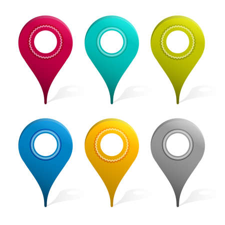 mapping: Set Of Mapping Pins Icon, Isolated On White Background, Vector Illustration Illustration
