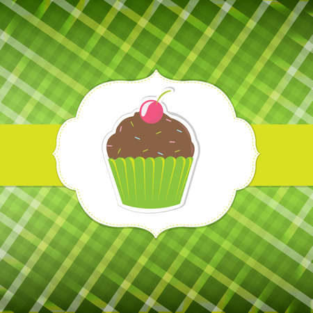 Green Background In Cage With Cupcake, Vector Illustration Vector