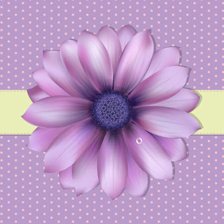 Lilac Background With Gerber,  Illustration Vector