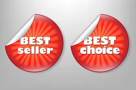 2 Best Choice Red Label, Isolated On Grey Background Illustration Vector