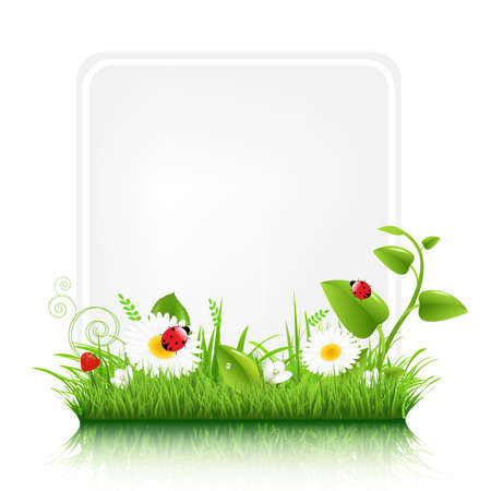 spring message: Blank Gift Tag With Grass Border Illustration