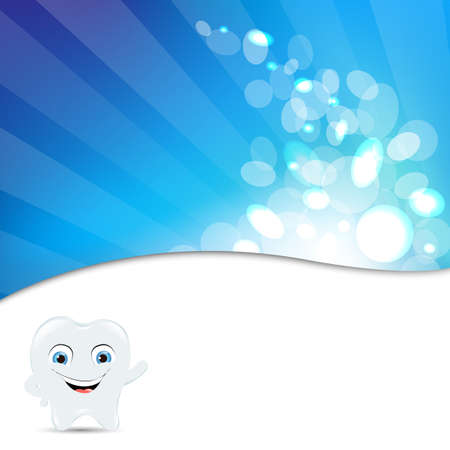 Blue Background With Tooth Icon Illustration Vector