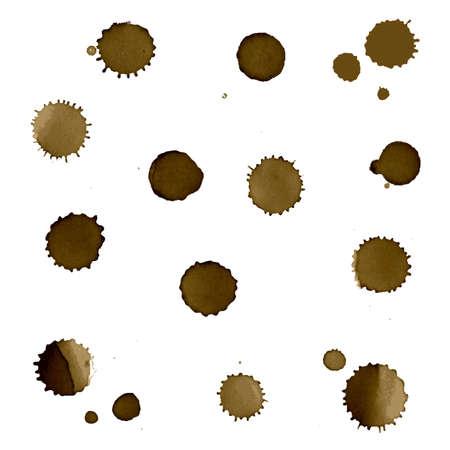cruddy: Coffee Stain Set, Isolated On White Background Illustration