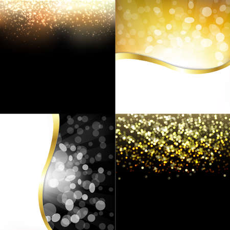 glamorous: Gold Abstract Dark Backgrounds Set Illustration