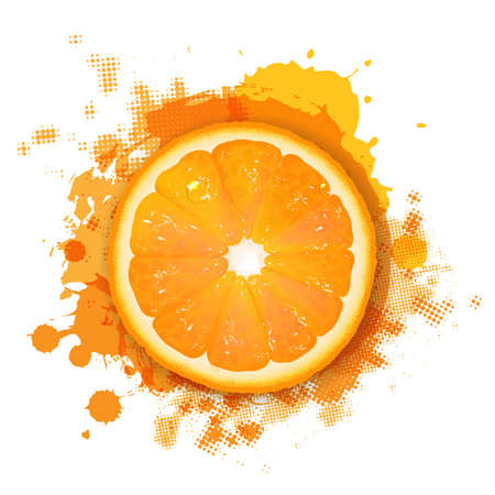 orange slice: Orange With Orange Blob, Isolated On White Background Illustration