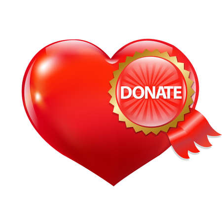 Red Heart With Label Donate Illustration Vector
