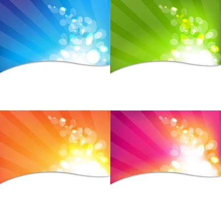 starburs: 4 etiquetas con Bokeh Y Sunburst Ilustraci�n, aislado en fondo blanco Vectores