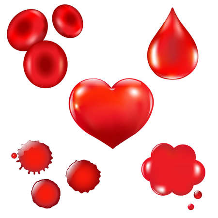 Set With Blood Drop And Heart Illustration Vector