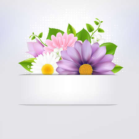 Summer Flowers With Leaf, Isolated On Grey Background Illustration Vector