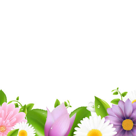 border cartoon: Summer Flowers With Leaf Border, Isolated On White Background Illustration