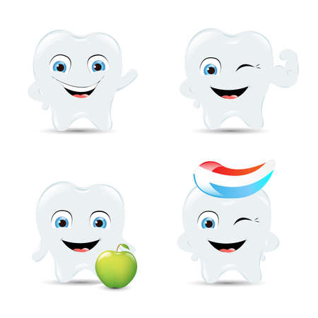 pasta dental: 4 Iconos de dientes, Aislados En Fondo Blanco Illustration Vectores