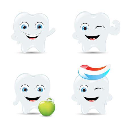 dientes con caries: 4 Iconos de dientes, Aislados En Fondo Blanco Illustration Vectores