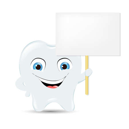 Tooth Icon With Announcement, Isolated On White Background Illustration Vector
