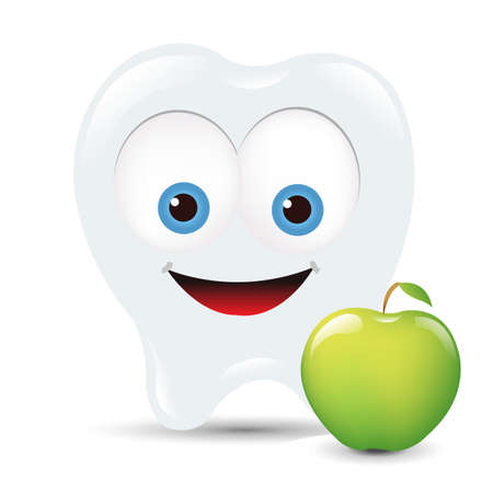dental symbol: Toot Icon With Apple, Isolated On White Background Illustration